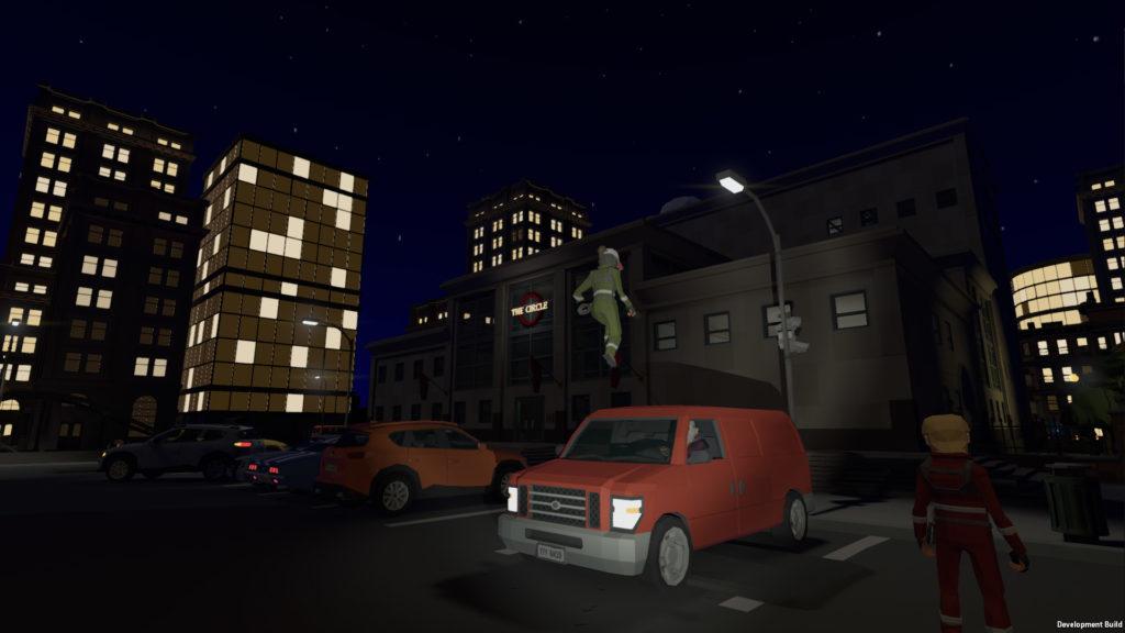 [Image: Acrobat jumping atop a van]