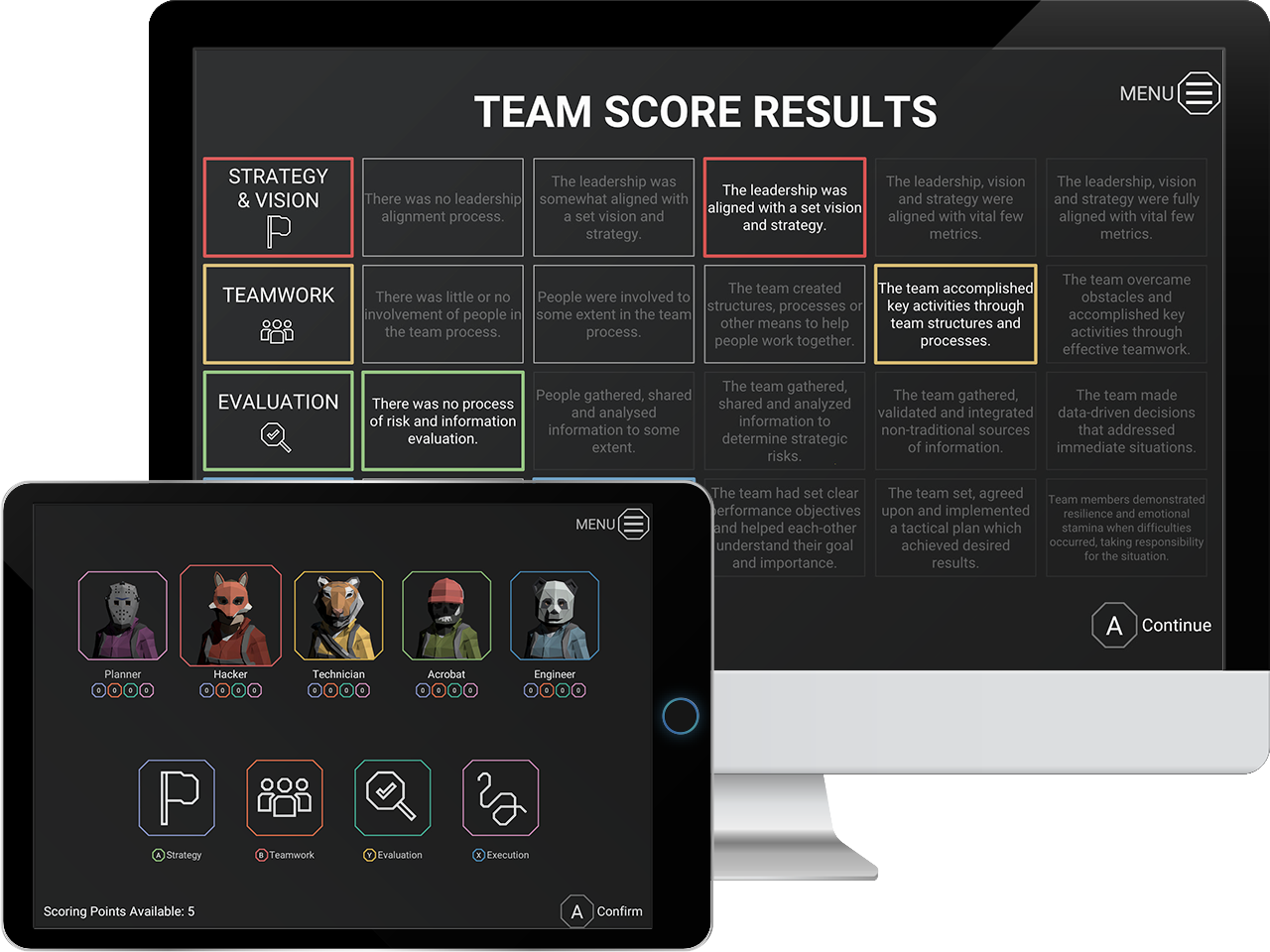 [Image: Team & Individual scoring on Desktop & Tablet]
